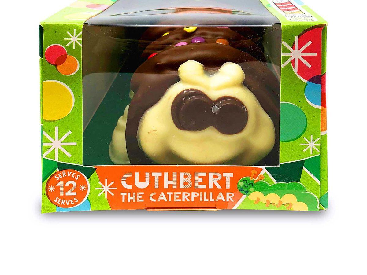 A photo of Aldi's Cuthbert the Caterpillar chocolate cake