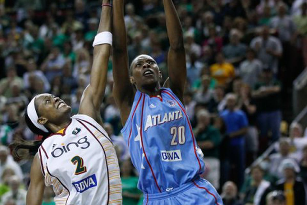 """Sancho Lyttle has been the Atlanta Dream's most consistent player in the WNBA Finals. <em>Photo by <a href=""""http://www.kailasimages.com"""" target=""""new"""">Kailas Images</a>.</em>"""