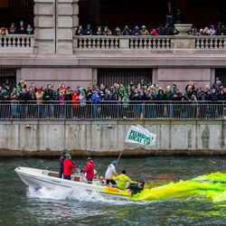 The Plumber's Local Union 130 dyes the Chicago River green to celebrate St. Patrick's Day, Saturday, March 17th, 2018. | James Foster/For the Sun-Times