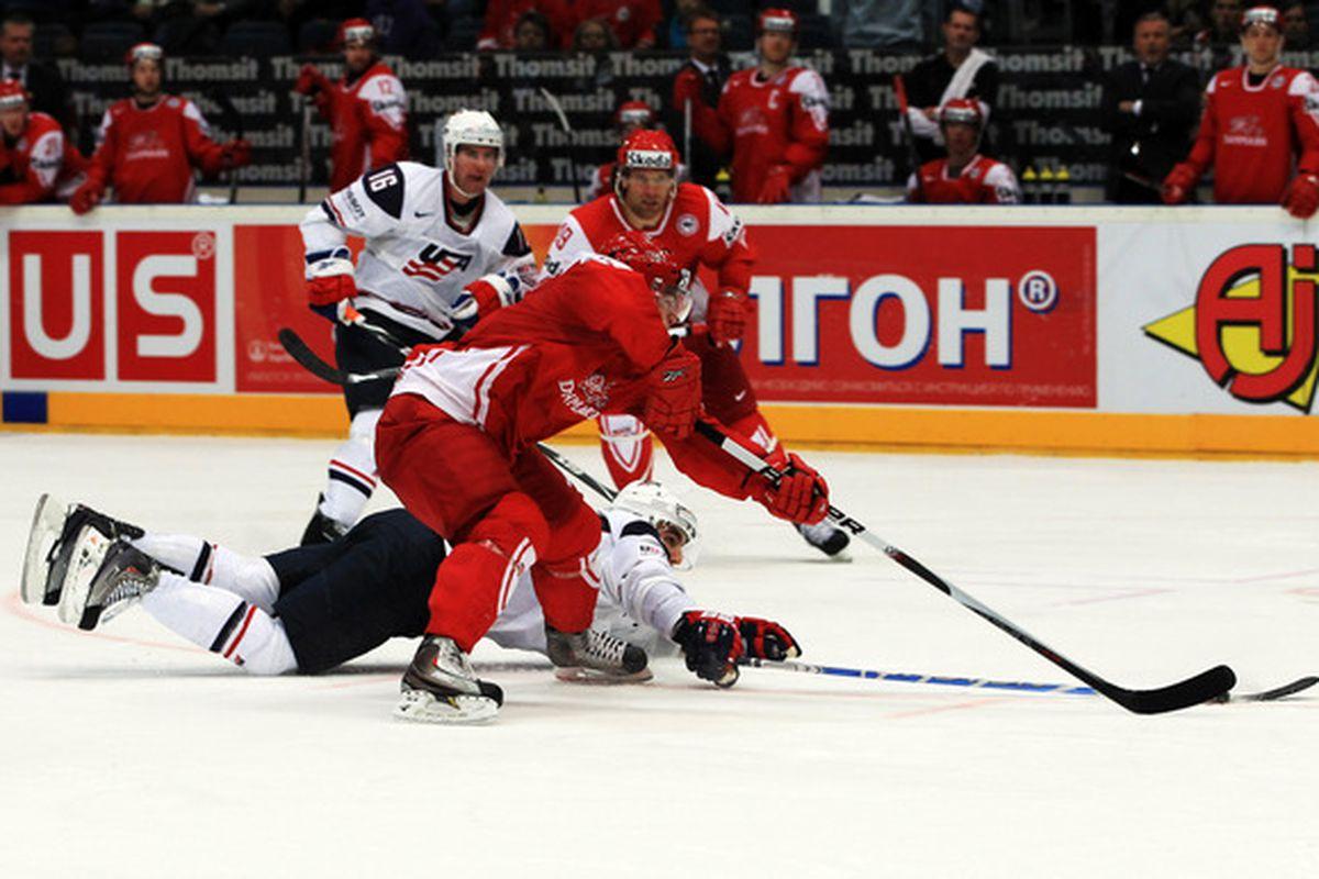 Islanders Jack Hillen and Frans Nielsen doing the Worlds thing last week.