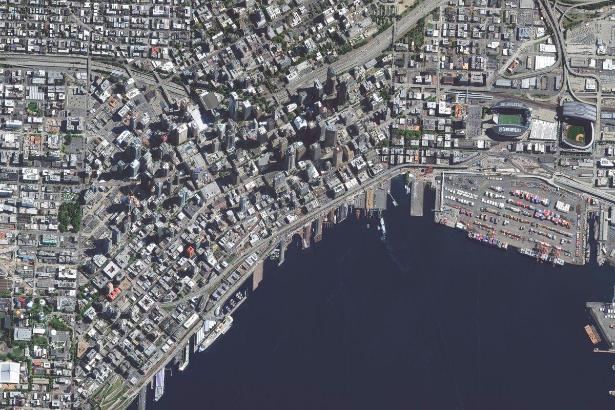 SEPTEMBER 12, 2015: A DigitalGlobe satellite image of Seattle, Washington.