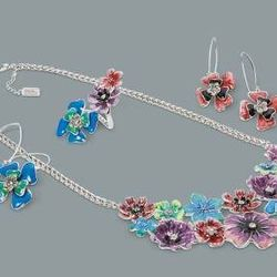 Floral earrings in Dresden blue and Calypso coral, $14.99 each; floral necklace in multicolor, $39.99; floral ring in multicolor, $16.99