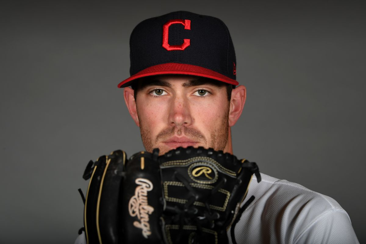 Shane Bieber #57 of the Cleveland Indians poses during MLB Photo Day on February 19, 2020 in Goodyear, Arizona.