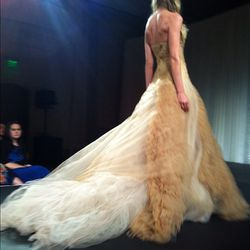 Nude satin-faced organza and Italian tulle strapless ballgown with tissue organza laddering detail. Wow.