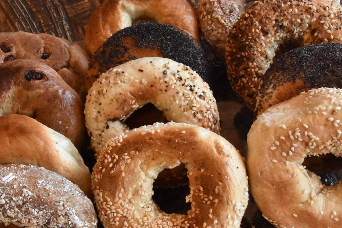 An array of bagels.