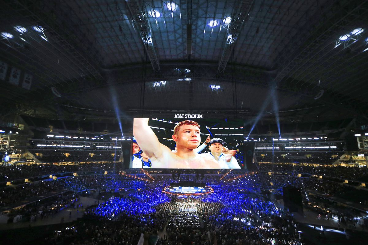 Canelo Alvarez enters the ring before fighting with Liam Smith in the WBO Junior Middleweight World fight at AT&T Stadium on September 17, 2016 in Arlington, Texas.
