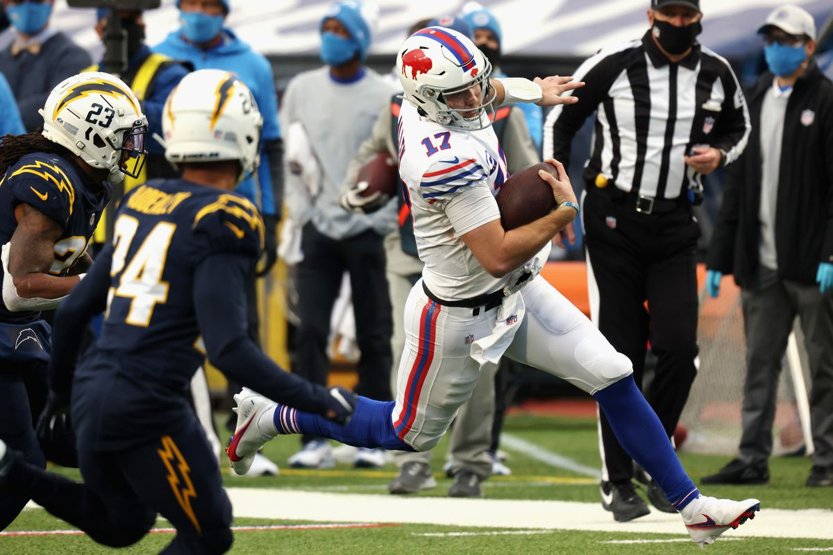 Josh Allen #17 of the Buffalo Bills runs the ball against the Los Angeles Chargers during the fourth quarter at Bills Stadium on November 29, 2020 in Orchard Park, New York. The Bills defeated the Chargers 27-17.