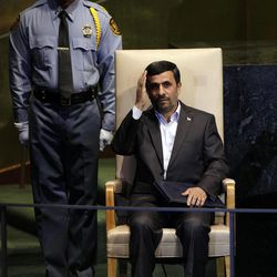 FILE-- In this Thursday, Sept. 22, 2011 file photo, Iran's President Mahmoud Ahmadinejad waves after his address to the 66th session of the United Nations General Assembly. As Iran's president crafts his talking points for his annual trip to New York, one message is likely to remain near the top: Tehran has not closed the door on nuclear dialogue and is ready to resume negotiations with world powers.