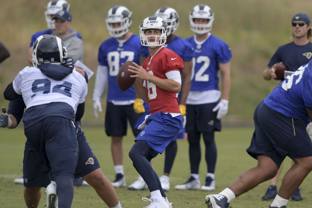 Los Angeles Rams QB Jared Goff throws a pass during organized team activities, May 21, 2018.