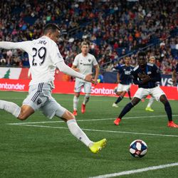 FOXBOROUGH, MA - MAY 25: D.C. United midfielder Leonardo Jara #29 sends in a cross during the second half against the New England Revolution at Gillette Stadium on May 25, 2019 in Foxborough, Massachusetts. (Photo by J. Alexander Dolan - The Bent Musket)