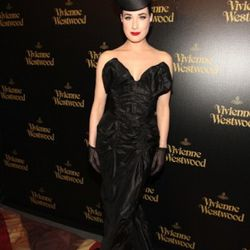 Dita Von Teese, in her requisite funky headgear, attends the Vivienne Westwood Store Opening Party. Photo by Christopher Polk/Getty Images for Palladium Jewelry
