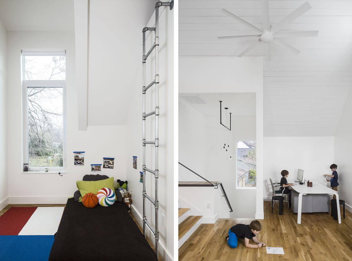 One of the boys bedrooms has a loft space with a ladder leading up to it. The top floor has very high ceilings and the boys play in an area by the stairs.