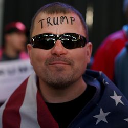 Jasen Tropf waits for Donald Trump to speak at the Infinity Event Center in Salt Lake City on Friday, March 18, 2016.