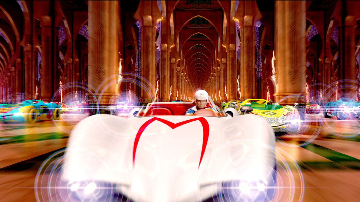 Speed Racer drives through a kaleidoscopic tunnel
