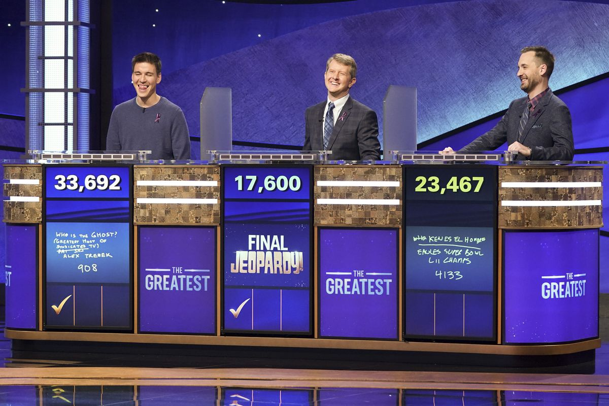 """JEOPARDY! THE GREATEST OF ALL TIME - On the heels of the iconic Tournament of Champions, """"JEOPARDY!"""" is coming to ABC in a multiple consecutive night event with """"JEOPARDY! The Greatest of All Time,"""" premiering TUESDAY, JAN. 7 (8:00-9:00 p.m. EST), on ABC. (ABC/Eric McCandless)"""