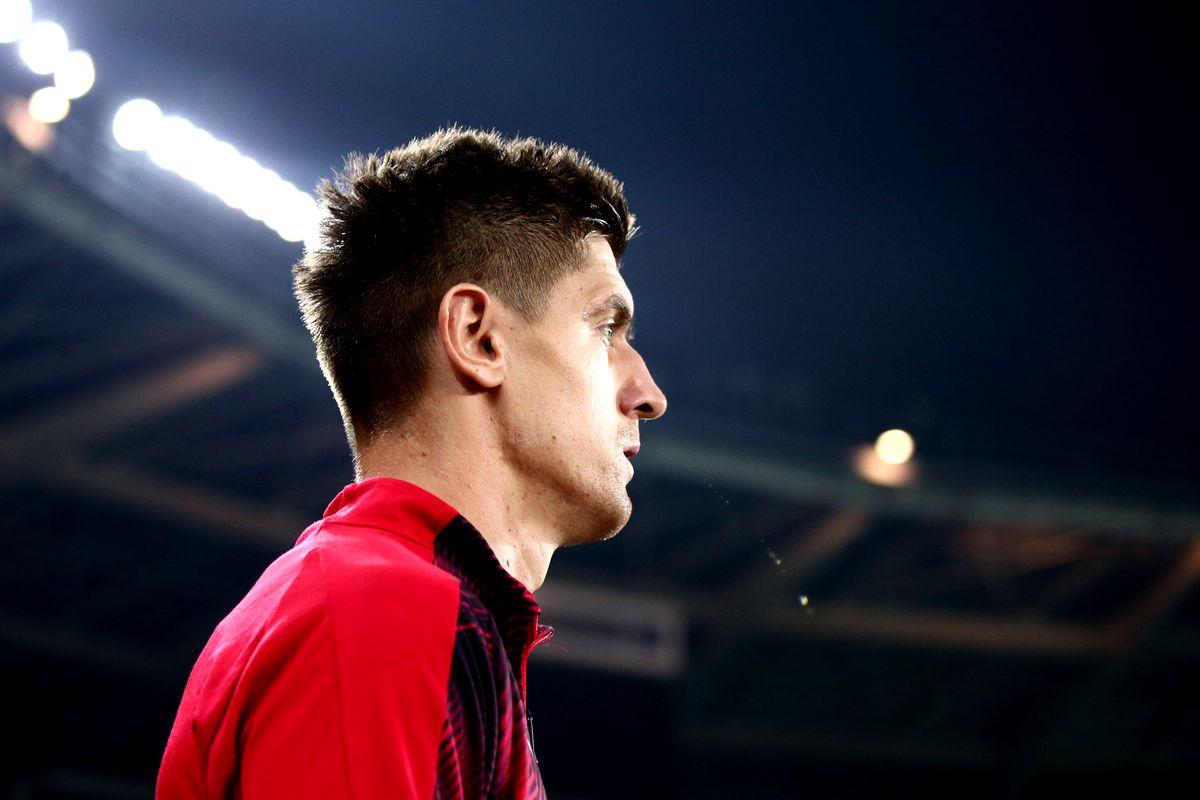 Krzysztof Piatek of Ac Milan looks on before the Serie A...
