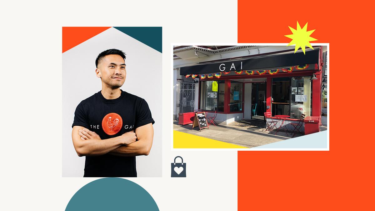 A photo of Chef Kevin Lieu; a photo of the exterior of Gai restaurant
