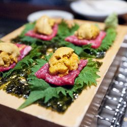 """Beef and uni at Takashi by <a href=""""http://www.flickr.com/photos/nicknamemiket/6977490186/in/pool-29939462@N00/"""">nicknamemiket</a>."""
