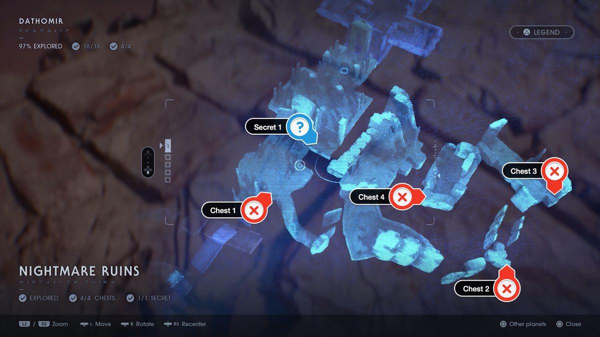 Star Wars Jedi Fallen Order Dathomir Nightmare Ruins chests and secret map location