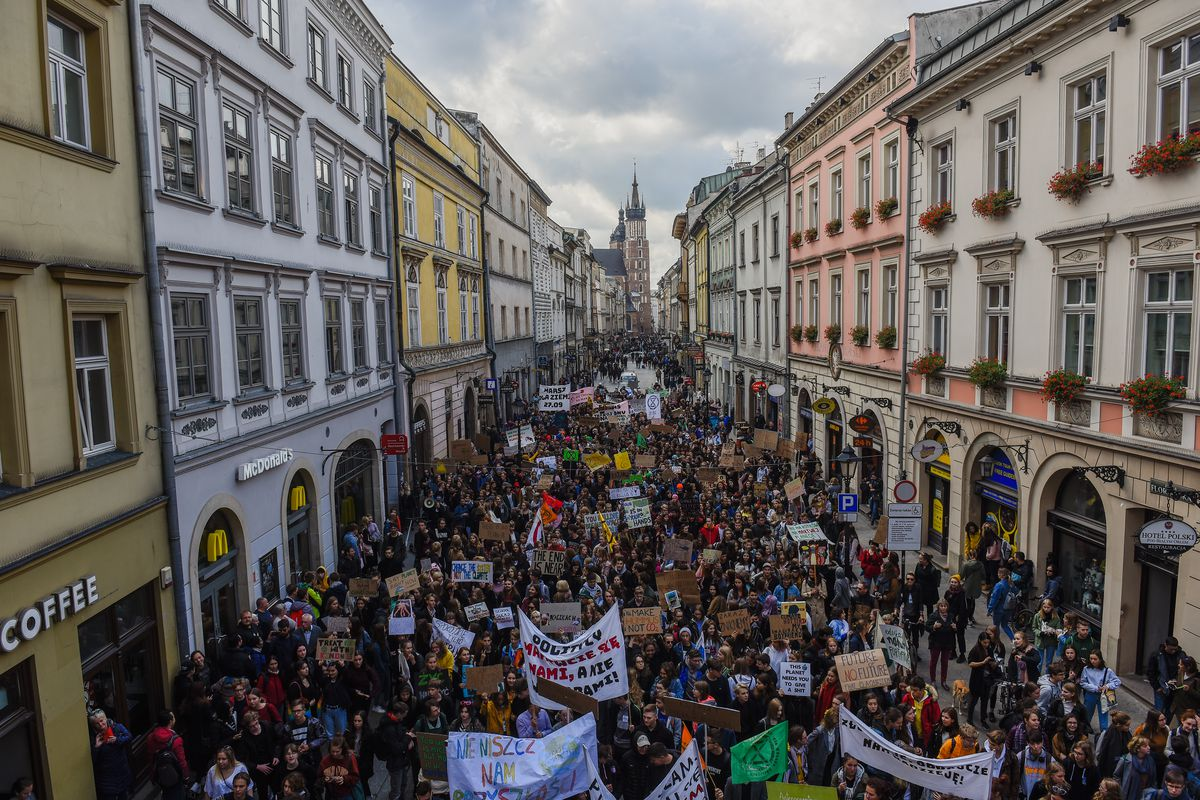 Protesters at the Global Climate Strike fill a street in Krakow, Poland.