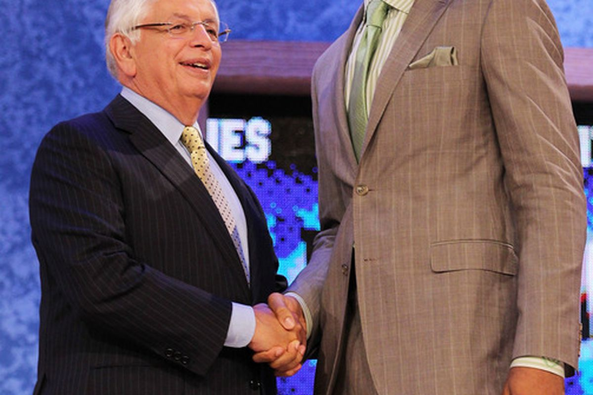 NEW YORK - JUNE 24:  Xavier Henry stands with NBA Commisioner David Stern after being drafted twelfth by  the Memphis Grizzlies at Madison Square Garden on June 24, 2010 in New York City. (Photo by Al Bello/Getty Images)