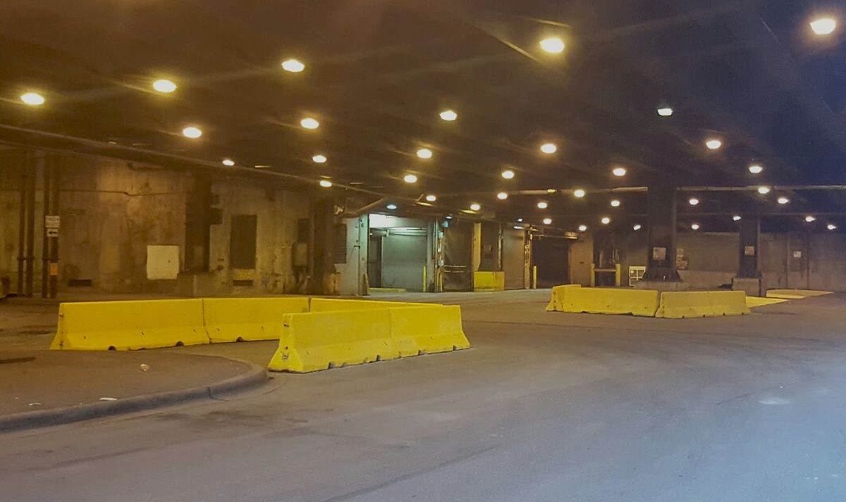 Concrete barriers have been installed on Lower Lower Wacker Drive at Stetson Avenue and Columbus Drive to reduce the width of the intersections.   Photo provided by Ald. Brendan Reilly