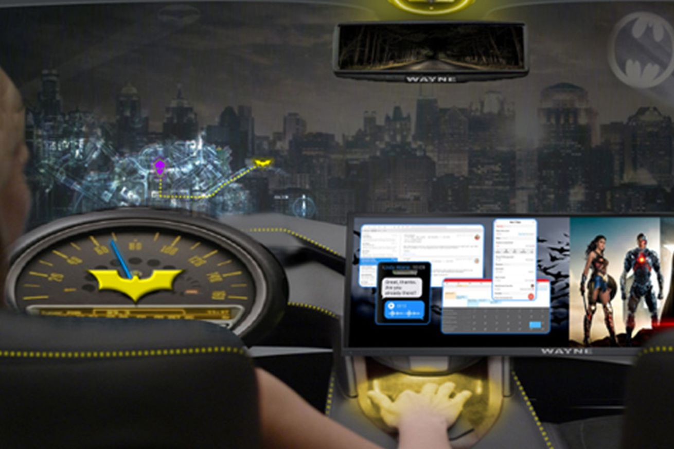 intel wants to splash advertising and batman on the screens of self driving cars