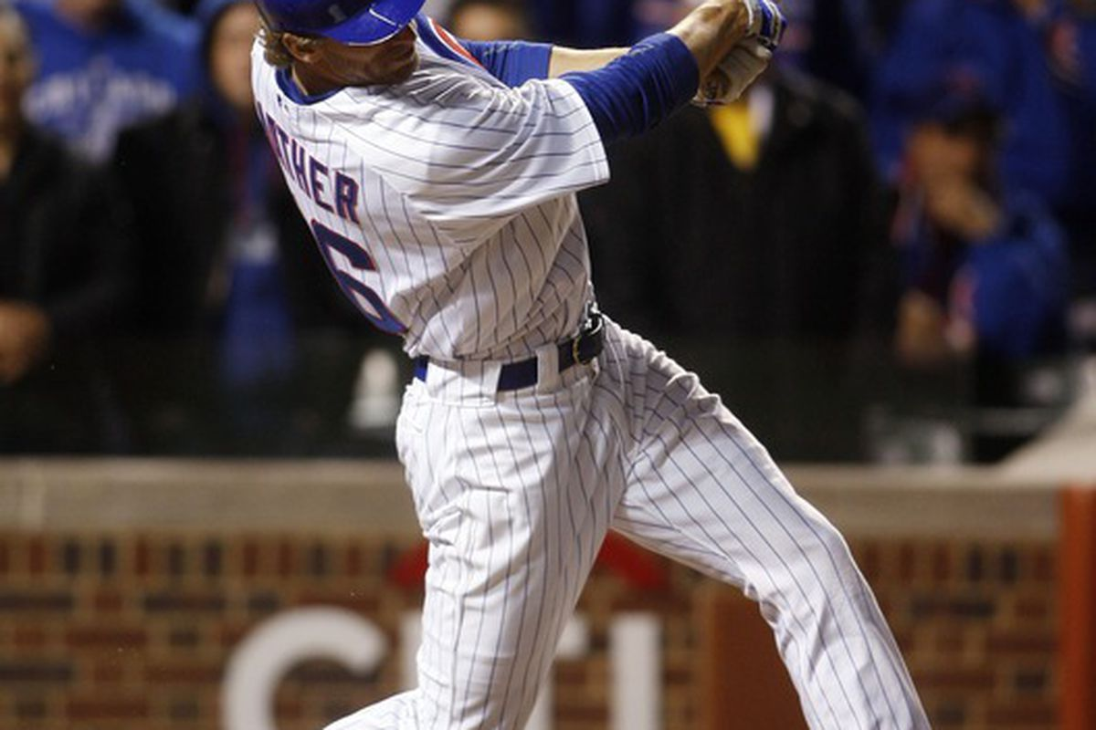 Chicago, IL, USA; Chicago Cubs' Joe Mather hits a two-run game-winning single against the St. Louis Cardinals at Wrigley Field. The Cubs won 3-2. Credit: Jerry Lai-US PRESSWIRE