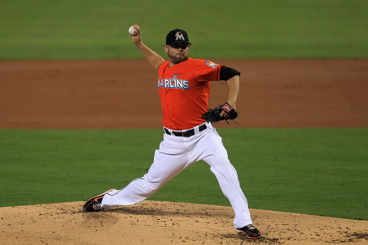 MIAMI, FL - JULY 15: Ricky Nolasco #47 of the Miami Marlins delivers a pitch against the Washington Nationals at Marlins Park on July 15, 2012 in Miami, Florida. (Photo by Chris Trotman/Getty Images)