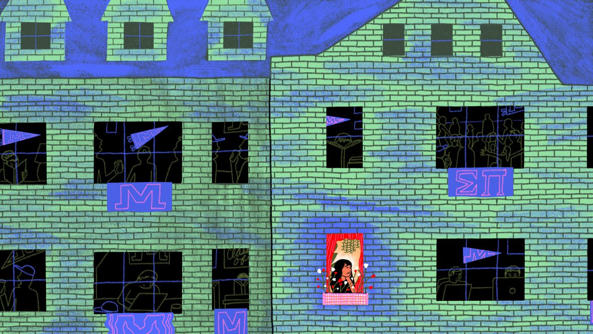 Illustration of a lonely and stressed girl looking out of the window of a greek life building.