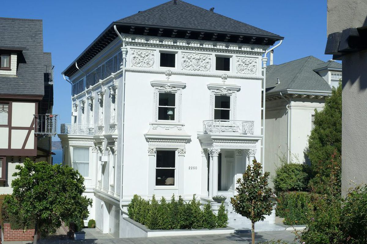 White exterior of Pacific Heights mansion.
