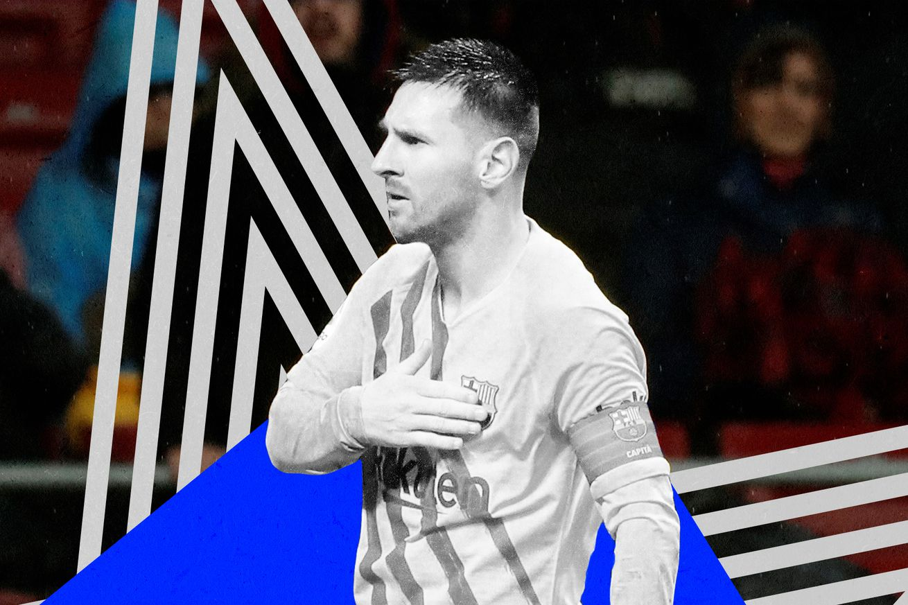 Lionel Messi, in black and white, celebrating after scoring a game winner against Atletico Madrid in front of an in-color background.