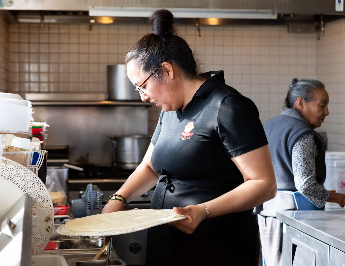 Cecilia Chairez, chef and owner of Mi Zacatecas, working in the kitchen