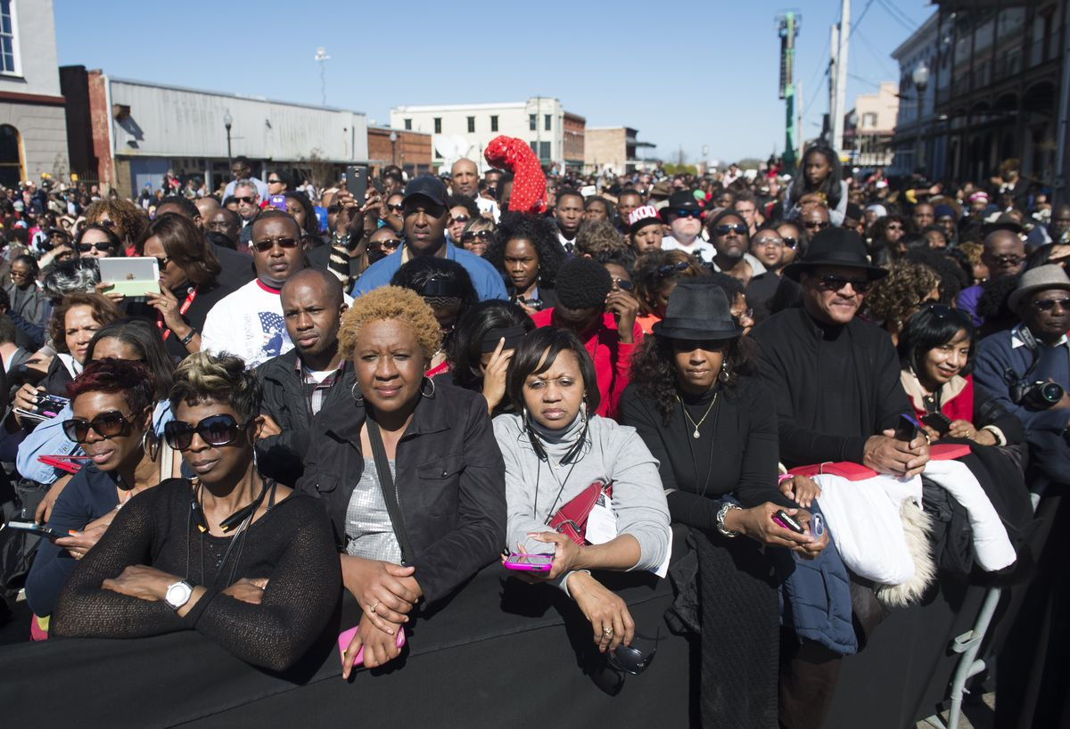 People mark the 50th Anniversary of the Selma to Montgomery civil rights marches in Selma, Alabama, in 2015. At the gathering, President Obama denounced attempts to restrict voting rights.