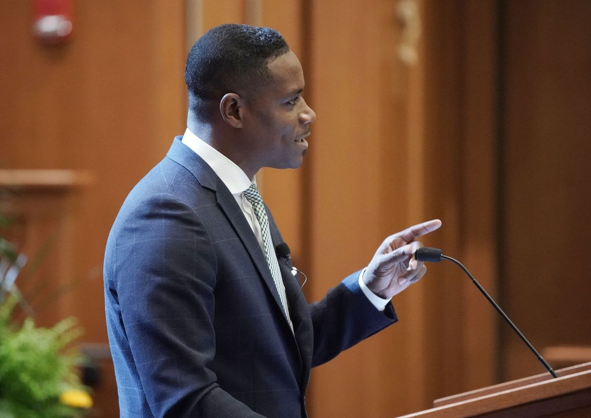Justin Giboney,co-founder and presidentof the AND Campaign, speaks during the Notre Dame Religious Liberty Summit at the University of Notre Dame in South Bend, Ind., on Monday, June 28, 2021.