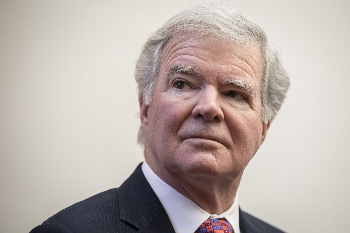 Mark Emmert, president of the National Collegiate Athletic Association (NCAA), looks on during a brief press availability on Capitol Hill December 17, 2019 in Washington, DC.