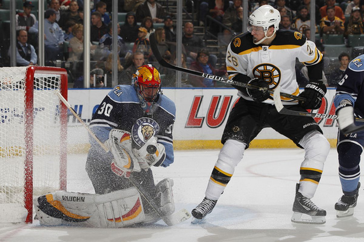 SUNRISE FL - DECEMBER 27: Goaltender Scott Clemmensen #30 of the Florida Panthers stops a shot by Blake Wheeler #22 of the Boston Bruins on December 27 2010 at the BankAtlantic Center in Sunrise Florida. (Photo by Joel Auerbach/Getty Images)