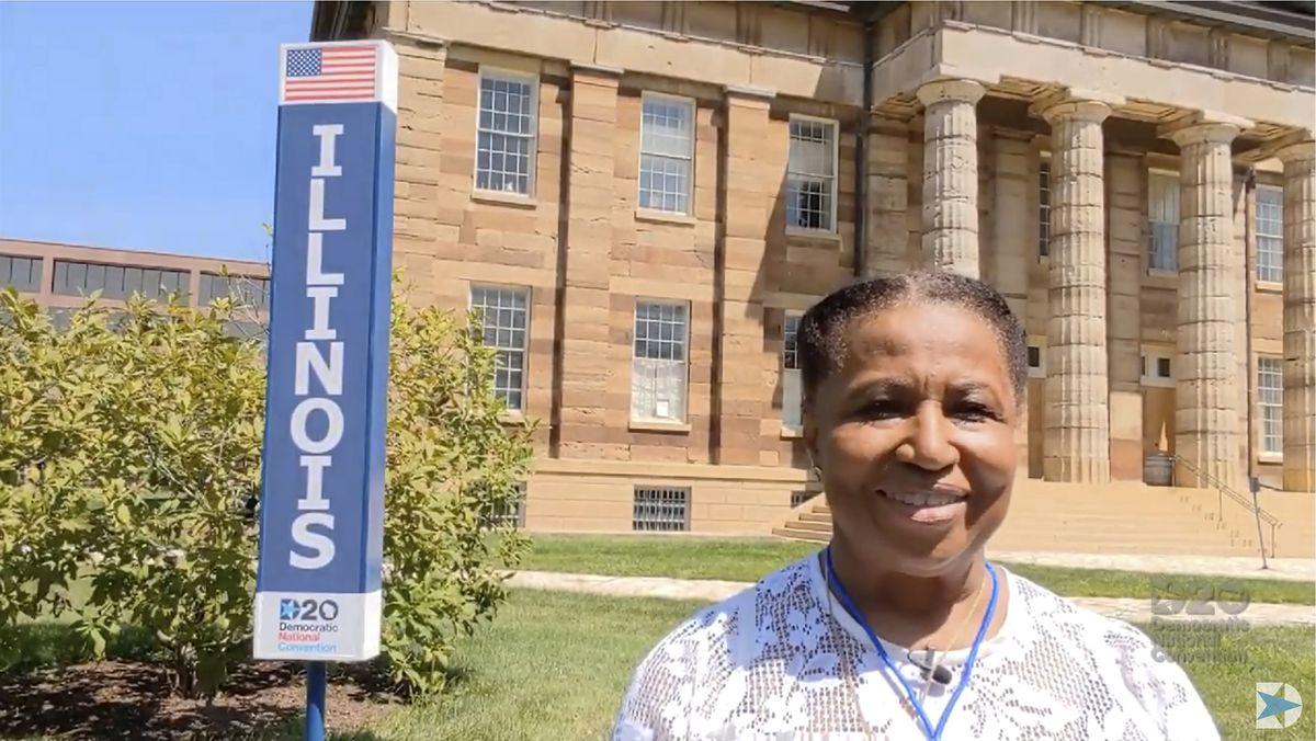 Carol Moseley Braun represents Illinois to nominate Joe Biden during Tuesday night's roll call vote.