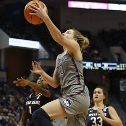UConn's Katie Lou Samuelson (33) goes up for two of her team-high 18 points during the Notre Dame Fighting Irish vs UConn Huskies women's college basketball game in the Women's Jimmy V Classic at the XL Center in Hartford, CT on December 3, 2017.