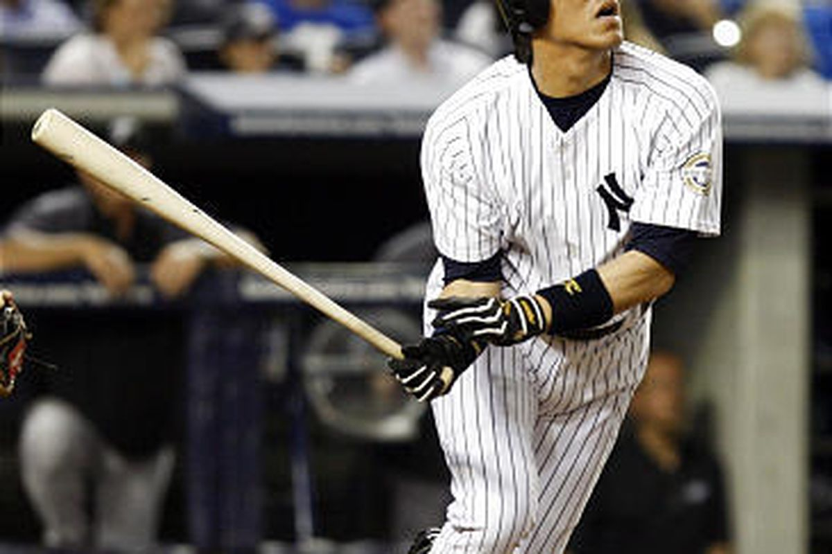 N.Y. Yankees Hideki Matsui watches flight of the ball in Tuesday's win over Toronto.