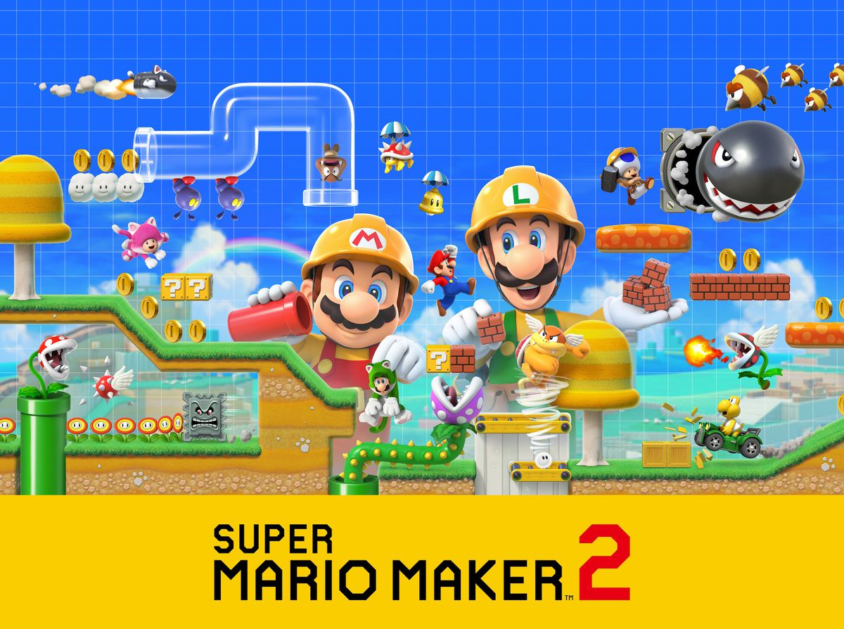 Promotional work of Natty Mario Maker 2 featuring Mario and Luigi constructing a level within the kind of Natty Mario 3D World.