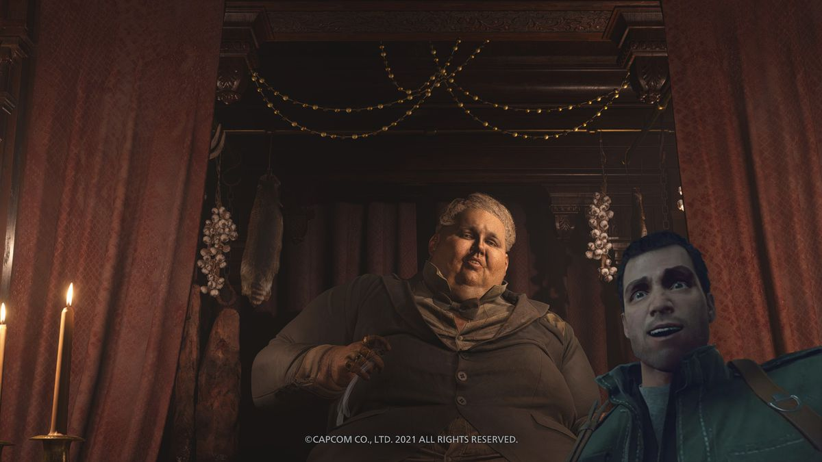 A photo of The Duke from Resident Evil Village with a Frank West selfie face added
