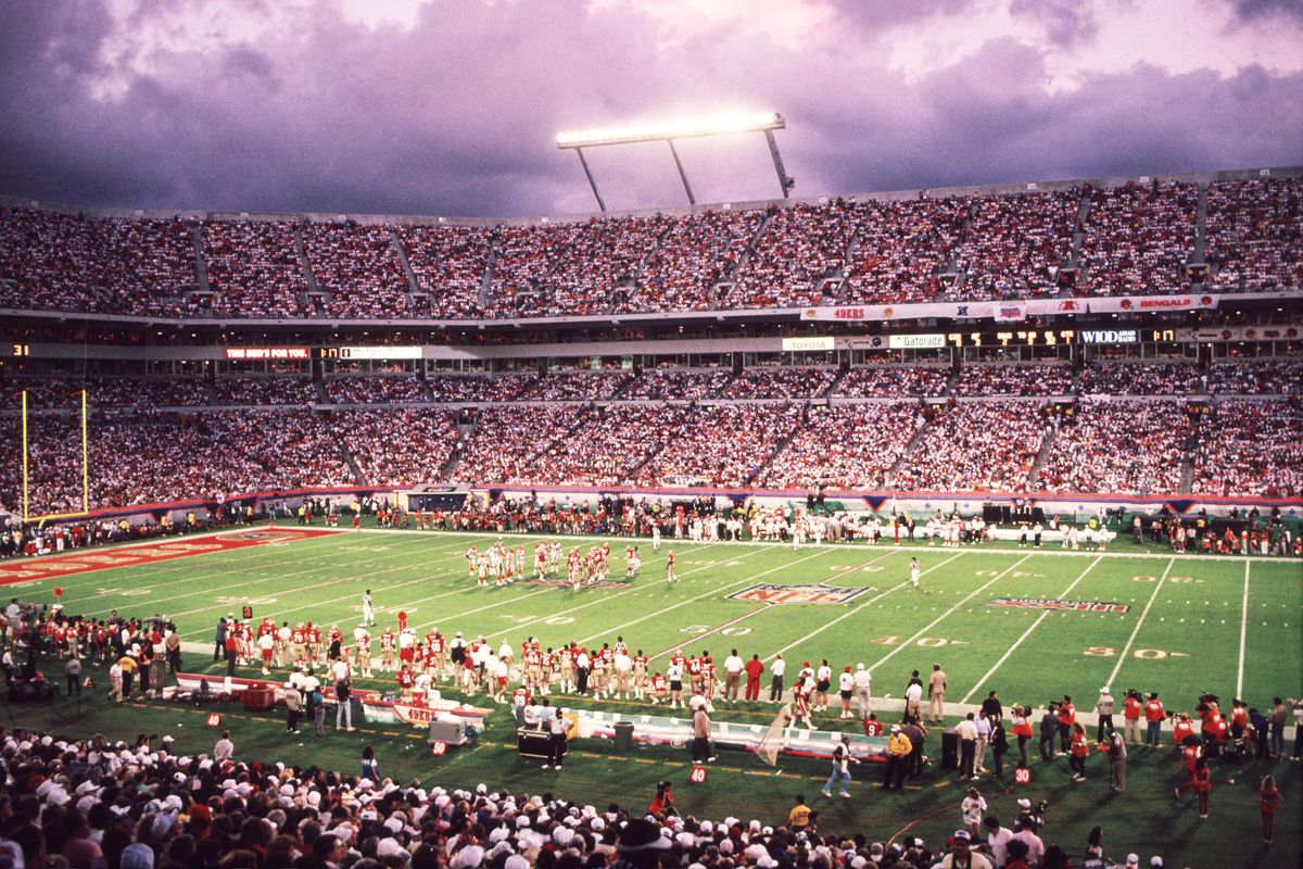 A general view during the San Francisco 49ers 20-16 victory over the Cincinnati Bengals in Super Bowl XXIII at Pro Player Stadium in Miami, FL.