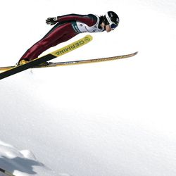 Jessica Jerome competes in the in the Women's K-120 during the US National Ski Jump and Nordic Combined Championships at the Utah Olympic Park in Park City Saturday, March 15, 2008.