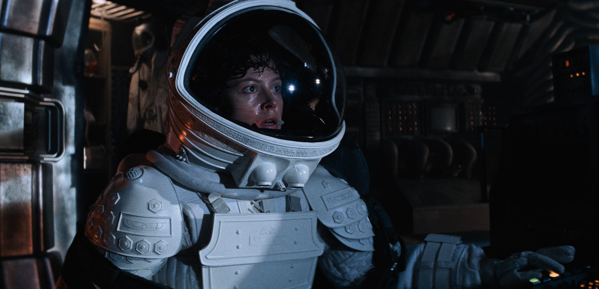 Sigourney Weaver in a space helmet in Alien
