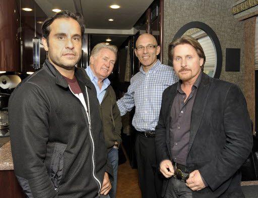From left: producer David Alexanian, Martin Sheen, Joe Perrino and Emilio Estevez at a Home Run Inn restaurant in 2011. | Sun-Times file photo