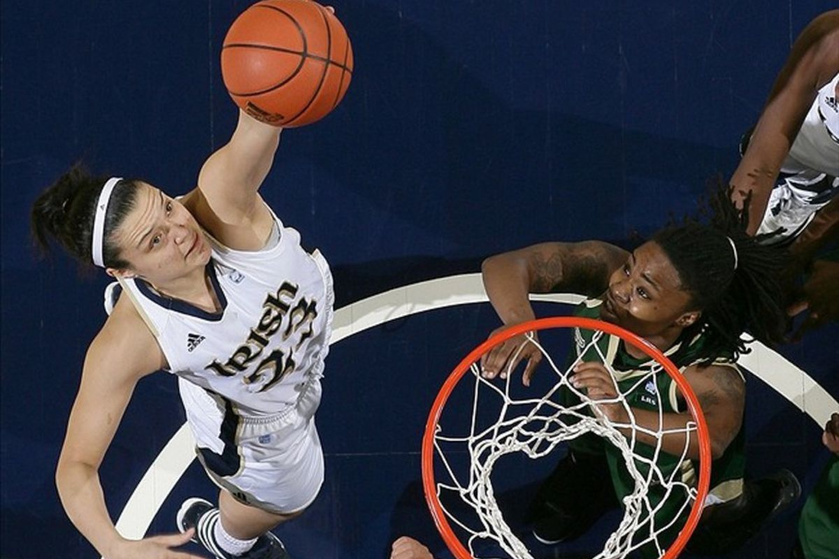 While Notre Dame Fighting Irish forward Devereaux Peters is one of the nation's top rebounders, players like Kayla McBride have also had to step up on the boards against UConn. <em> Matt Cashore-US PRESSWIRE</em>