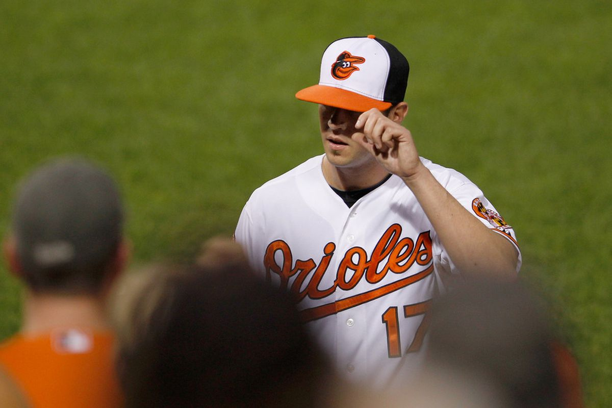 Brian Matusz was last seen tipping his cap to the crowd after a brilliant outing against Boston. Can he duplicate that effort against Kansas City this afternoon?  (Photo by Rob Carr/Getty Images)