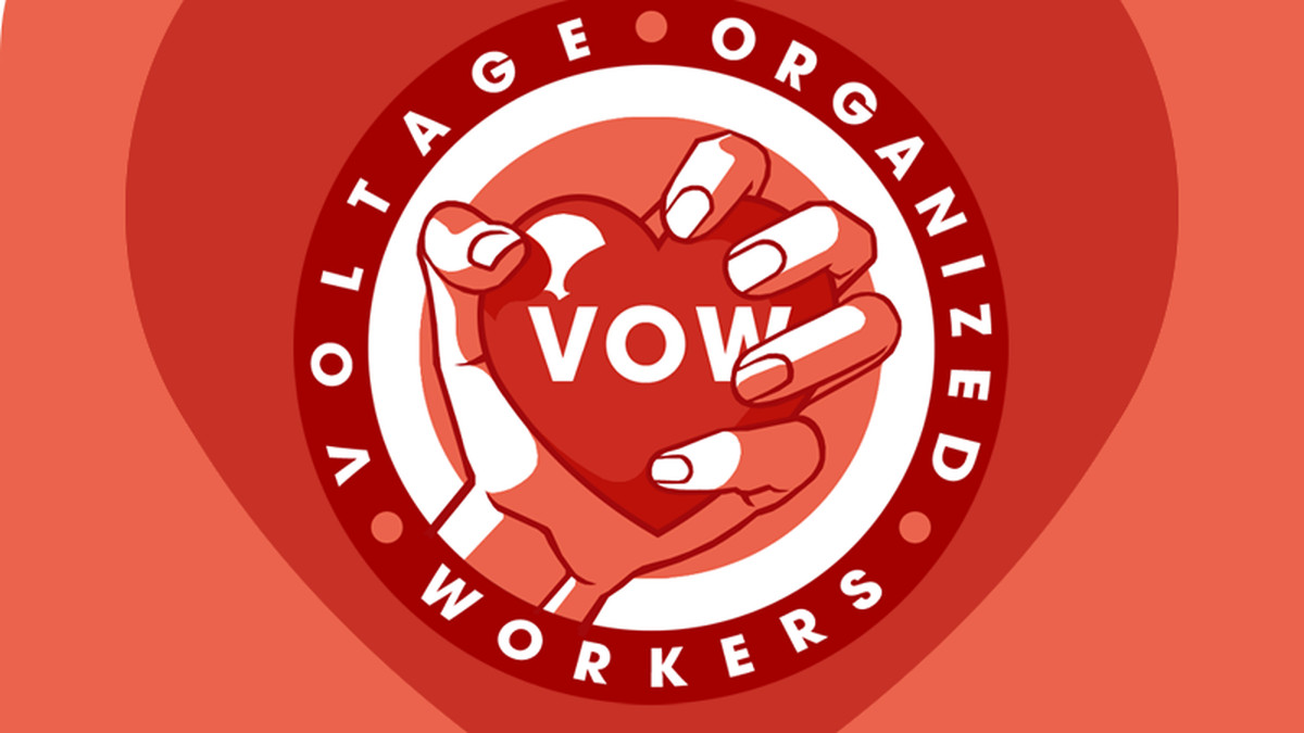 Voltage Workers United logo with a heart in a fist