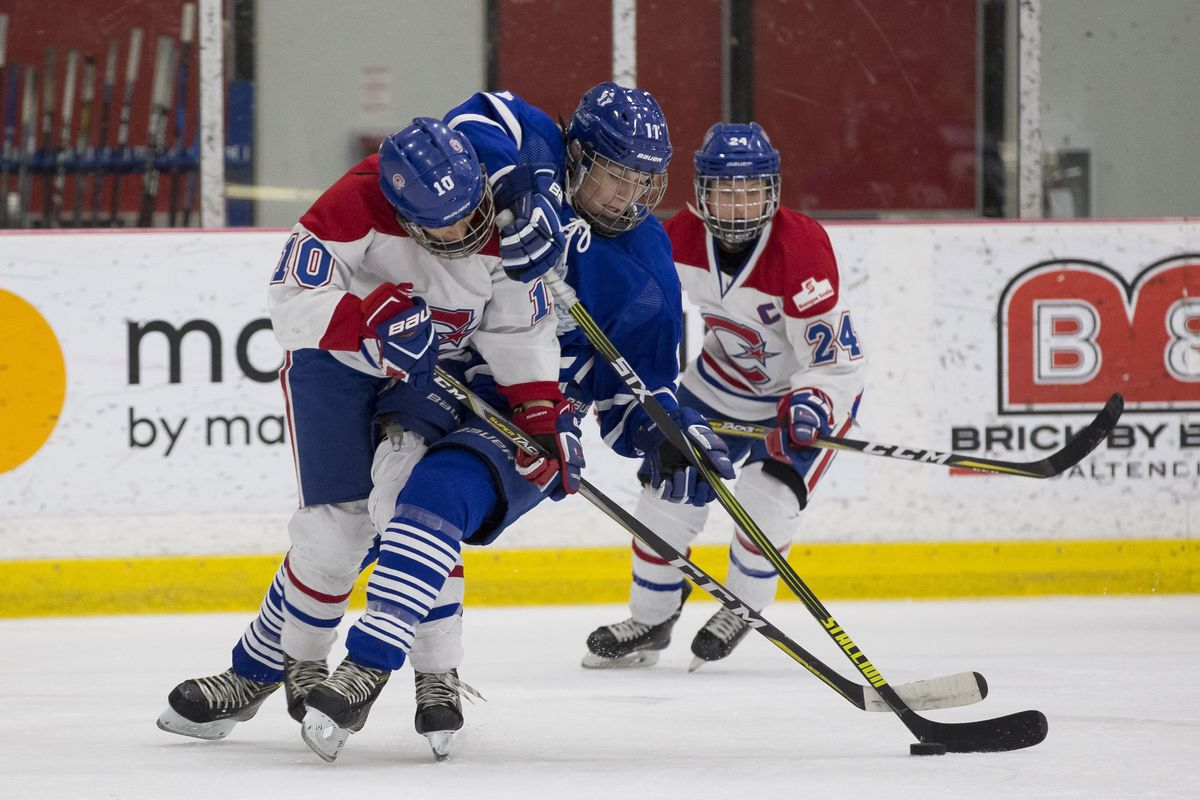 Jessica Platt (11) of the Toronto Furies battles for the puck with Noémie Marin (10) of the Canadiennes de Montréal, while Ann-Sophie Bettez (24) keeps an eye on the action.